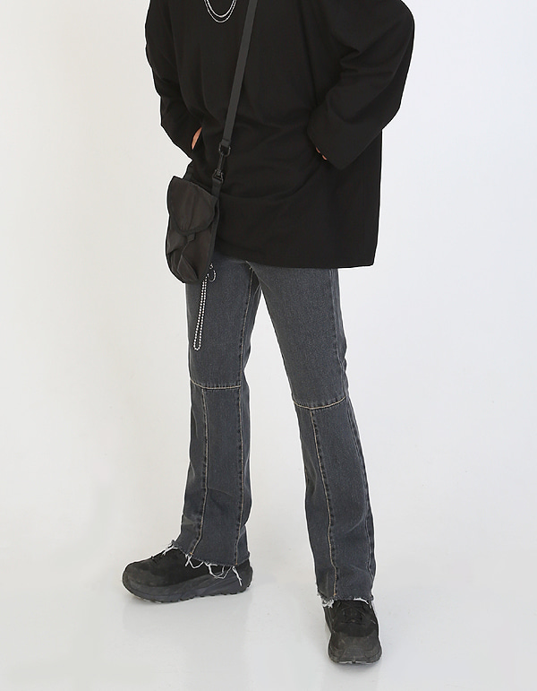 No.0034 HIC made T incision black denim PT