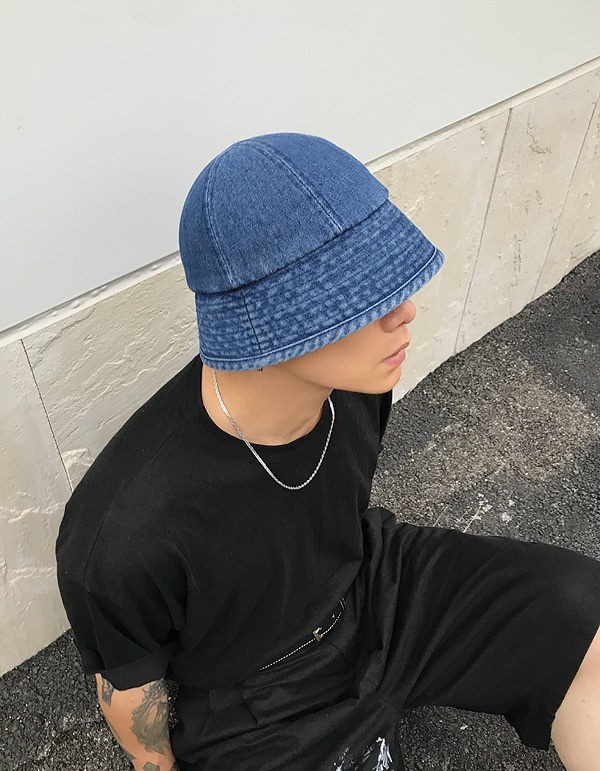 No.8099 denim circle bucket HAT