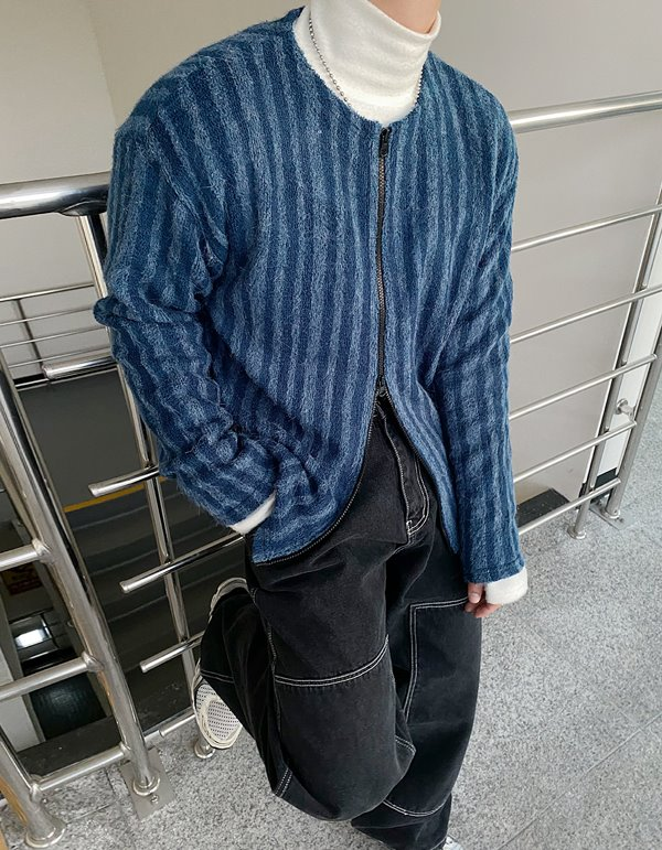 No.8398 mohair stripe zip-up (3color)